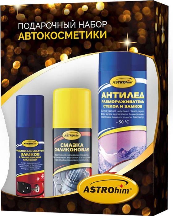 Набор автохимии Astrohim, 3 предмета. Ас-5115Ас-5115Набор подарочный Astrohim Ас-5115 (антилед, размораживатель замков, смазка силикон).