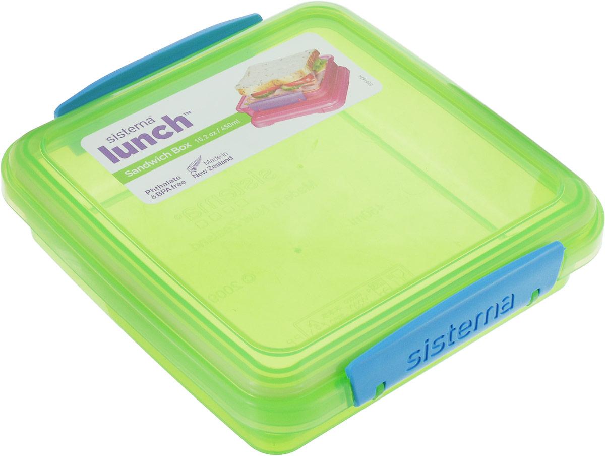 Контейнер для сэндвичей Sistema, цвет: прозрачный зеленый,синий, 450 мл31646_зеленый,синийКонтейнер Sistema, изготовленный из высококачественного пластика, предназначен, для сэндвичей и бутербродов. Изделие плотно и герметично закрывается, благодаря двум защелкам по бокам и силиконовой прослойке в крышке.Подходит для использования в микроволновой печи и для хранения в холодильнике.Можно мыть в посудомоечной машине.Размер контейнера (без чета крышки): 14,3 х 14,3 х 3,5 см.