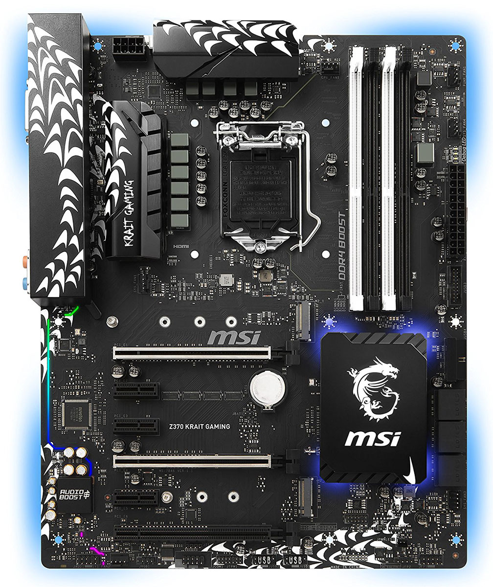 MSI Z370 Krait Gaming материнская платаZ370 KRAIT GAMINGМатеринские платы MSI Z370 Krait Gaming открывают новую эру гейминга. Благодаря уникальному внешнему виду и эксклюзивным геймерским функциям, материнские платы Gaming предлагают лучшие игровые возможности.Настройте любую цветовую схему с помощью утилиты MSI Mystic Light. Чтобы полностью соответствовать стилю вашей системы выбирайте любой цвет из палитры с помощью вашего смартфона или приложения для ПК MSI Gaming App. Устали от одного и того же цвета? Полностью измените внешний вид компьютера за 1 секунду!Разъем расширения MSI Mystic Light Extension предоставляет интуитивно понятный способ подключения дополнительных полноцветных светодиодных лент без приобретения отдельного светодиодного контролера. Просто подключайте RGB светодиодные ленты на 12В к специальному коннектору 4-пин Mystic Light Extension и управляйте подсветкой по своему вкусу.Охлаждение компьютера является существенно важным, когда речь идет о стабильности и высокой производительности. Для этого мы установили на плате достаточное количество разъемов для подключения управляемых вентиляторов. Теперь вы можете полностью контролировать охлаждение вашей системы.Материнская плата MSI GAMING поддерживает все самые последние стандарты для дисковых накопителей. Это позволяет подключать любые высокоскоростные устройства хранения данных, добавляя преимуществ для игр. Быстрее запускайте игры и загружайте уровни и получайте настоящее преимущество перед своими врагами.Самые передовые технологии и разработки MSI позволили добиться совершенно другого уровня производительности в приложениях виртуальной реальности. Объединяя усилия с самыми известными VR брендами, а также используя уникальные технологии собственной разработки, MSI дарит геймерам и всем любителям VR новые ощущения, где неизвестные виртуальные миры по-настоящему оживают.Почувствуйте по-настоящему потрясающий звук в играх. Благодаря технологии MSI Audio Boost и высококачественным компонентам мы гарант