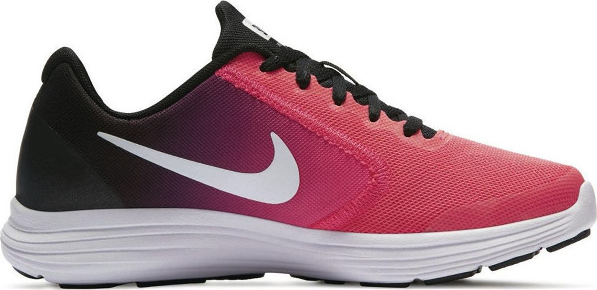 Кроссовки для девочки Nike Revolution 3 (GS), цвет: розовый, черный. 819416-002. Размер 5 (36,5)819416-002Беговые кроссовки для девочек Nike Revolution 3 (GS) с легким верхом из сетки и бесшовными кожаными накладками для воздухопроницаемости и поддержки. Эластичные желобки в полноразмерной промежуточной подошве из пеноматериала для естественности движений. Верх из сетки с бесшовными накладками для плотной посадки и воздухопроницаемости. Полноразмерная промежуточная подошва из материала обеспечивает невесомую амортизацию. Глубокие эластичные желобки обеспечивают естественность движений.