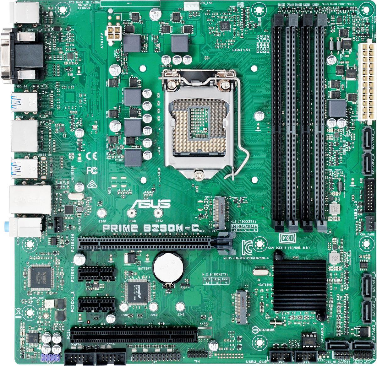 ASUS PRIME B250M-C материнская плата90MB0SQ0-M0EAYMASUS PRIME B250M-C - материнская плата формата micro-ATX коммерческой серии.Материнские платы ASUS Prime 200-й серии могут похвастать долгим сроком службы за счет технологии 5X Protection III, которая охватывает целый ряд инженерных решений, служащих для защиты от электрических перегрузок, коррозии, электростатических разрядов и прочих неприятностей.Технология SafeSlot Core – это особый способ крепления слота PCIe, который обеспечивает большую прочность и устойчивость к деформациям.Разъем проводной сети на данной материнской плате оснащается специальной защитой от статического электричества и перепадов напряжения.В системе питания данной материнской платы используются стабилизаторы, обеспечивающие защиту от перепадов напряжения, которые могут возникнуть при использовании блоков питания не самого высокого качества.Задняя панель материнских плат ASUS изготавливается из нержавеющей стали, покрытой тонким слоем оксида хрома, который обладает антикоррозийными свойствами. Благодаря этому она может похвастать долгим сроком службы.Цифровая система питания DIGI+ отличается высокой эффективностью, надежностью и стабильностью при любых нагрузках.На материнских платах ASUS реализована полноценная защита от потенциально опасных разрядов статического электричества.Данная материнская плата обладает специальным влагоотталкивающим покрытием, которое продлевает срок службы устройства в условиях повышенной влажности.Чтобы обеспечить возможность круглосуточной работы, материнская плата должна быть способна работать при самых разных окружающих условиях. Вот почему каждая модель тестируется при температуре воздуха до 45° и влажности до 80%.