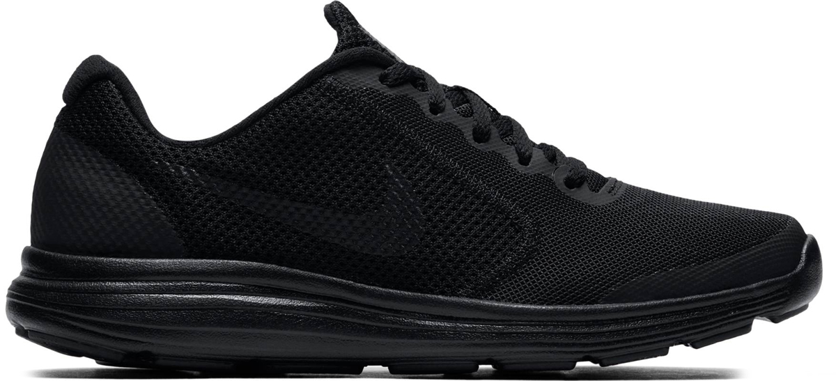 Кроссовки детские Nike Revolution 3 (GS), цвет: черный. 819413-009. Размер 3,5 (34,5)819413-009Детские кроссовки Revolution 3 от Nike выполнены из воздухопроницаемого сетчатого материала и дополнены бесшовными накладками. Подкладка и стелька из текстиля комфортны при движении. Шнуровка надежно зафиксирует модель на ноге. Промежуточная подошва обеспечивает дополнительную амортизацию. Рельефная резиновая подошва со специальными Flex-канавками для максимальной гибкости.