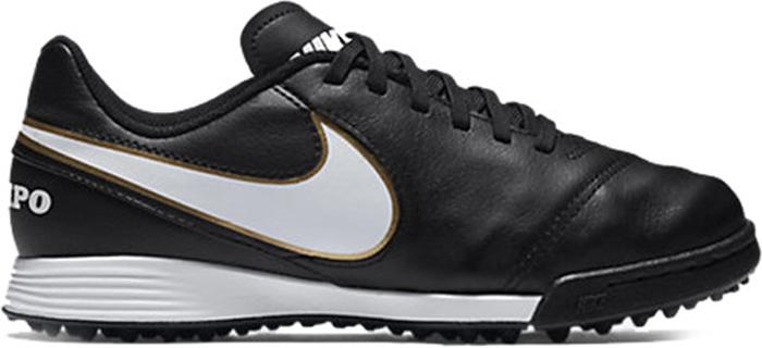 Кроссовки для мальчика Nike JR Tiempo Legend VI TF, цвет: черный. 819191-010. Размер 4,5 (35,5)819191-010Детские футбольные кроссовки для игры на газоне Nike Jr. TiempoX Legend VI (TF) с мягким верхом из натуральной кожи для комфорта и превосходного касания мяча. Конфигурация шипов обеспечивает сцепление на газоне. Верх из мягкой высококачественной и прочной кожи для невероятного комфорта и превосходного чувства мяча. Стелька из материала EVA с дополнительным подпяточником для комфорта и поддержки свода стопы Конфигурация шипов на подметке идеально обеспечивает сцепление на газоне.