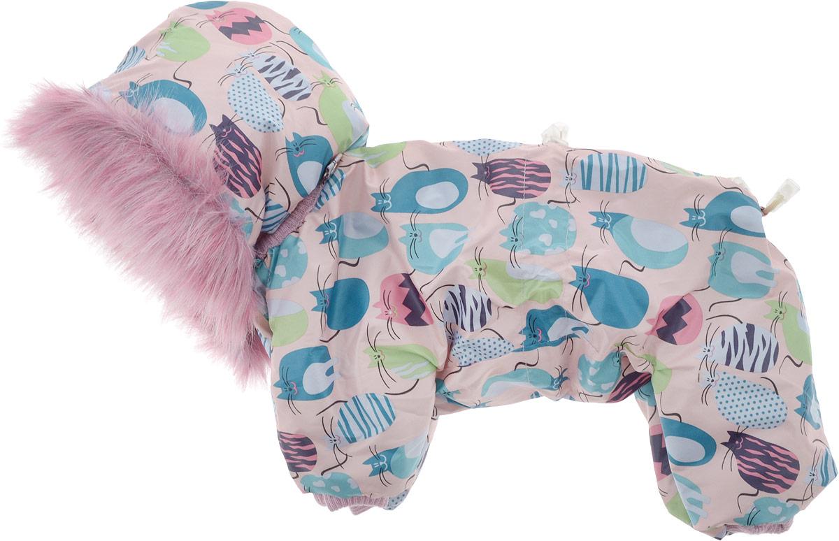 Комбинезон для собак Kuzer-Moda, зимний, унисекс, цвет: розовый, зеленый, черный. Размер 27KZ003199_розовыйЗимний комбинезон для собак Kuzer-Moda отлично подойдет для прогулок в холодное время года. Комбинезон изготовлен из полиэстера, защищающего от ветра и снега, с утеплителем из синтепона, который сохранит тепло даже в сильные морозы. Комбинезон с капюшоном застегивается на кнопки и липучки, благодаря чему его легко надевать и снимать. Капюшон пристегивается при помощи кнопок, дополнен искусственным мехом. Низ рукавов и брючин оснащен трикотажными манжетами, которые мягко обхватывают лапки, не позволяя просачиваться холодному воздуху. На пояснице комбинезон затягивается на шнурок-кулиску.Благодаря такому комбинезону простуда не грозит вашему питомцу.Длина по спинке 31 см.