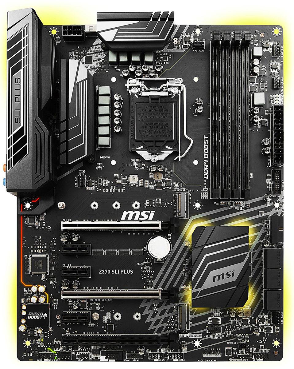 MSI Z370 Sli Plus материнская платаZ370 SLI PLUSМатеринские платы MSI Z370 Sli Plus сочетают в себе высокое качество изготовления, великолепную производительность и специальные оптимизации, направленные на бизнес-пользователей. Надежные, долговечные и функциональные - они станут прекрасной основой для рабочих станций любого уровня и сумеют удовлетворить все требования даже самых взыскательных профессионалов.Данная материнская плата полностью поддерживает 6-ядерные процессоры Intel под кодовым названием Coffee Lake, обеспечивающие новый уровень производительности в профессиональных приложениях.Настройте любую цветовую схему с помощью RGB Mystic Light Sync. Чтобы полностью соответствовать стилю вашей системы выбирайте любой цвет из палитры с помощью вашего смартфона или приложения для ПК MSI Gaming App. Устали от одного и того же цвета? Полностью измените внешний вид компьютера за 1 секунду!Охлаждение компьютера является существенно важным, когда речь идет о стабильности и высокой производительности. Для этого мы установили на плате достаточное количество разъемов для подключения управляемых вентиляторов. Теперь вы можете полностью контролировать охлаждение вашей системы.Благодаря поддержке самых современных видеостандартов подключения и технологий (OLED, HDR), а также возможности вывода изображения на устаревшие видеоустройства, такие как аналоговые проекторы, материнские платы MSI разработаны специально, чтобы делать жизнь проще, получая профессиональный результат.Для поддержки профессиональных мониторов, телевизоров, проекторов и других дисплеев, данная материнская плата имеет порт DVI. Неважно, какой дисплей вы хотите подключить, при использовании дискретной или встроенной видеокарты, материнская плата MSI всегда справится с возложенной на нее задачей.Почувствуйте по-настоящему потрясающий звук. Благодаря технологии Audio Boost и высококачественным компонентам мы гарантируем высочайшее качества звука. Наслаждайтесь захватывающим звуком в играх.Сетевой контроллер о