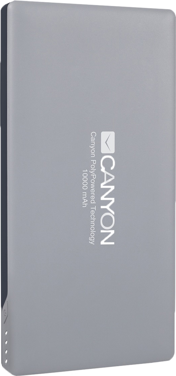 Canyon CNS-TPBP10DG, Dark Gray внешний аккумулятор (10000 мАч)CNS-TPBP10DGCanyon CNS-TPBP10DG это настоящая находка для владельцев iPhone! Этот ультратонкий литий-полимерный внешний аккумулятор оснащенвходом для lightning кабеля а значит вам не нужно носить два провода: mini-USB для зарядки аккумулятора и lightning для зарядки iPhone.Аккумулятор такой маленький и тонкий, что вы просто не почувствуете его в вашем кармане или сумке. емкости батареи должно хватить на 4цикла заряда среднестатистического смартфона. По сравнению с обычными литий-ионными, литий-полимерные батареи тоньше, легче и меньшетеряют заряд. Наслаждайтесь преимуществами новых технологий!