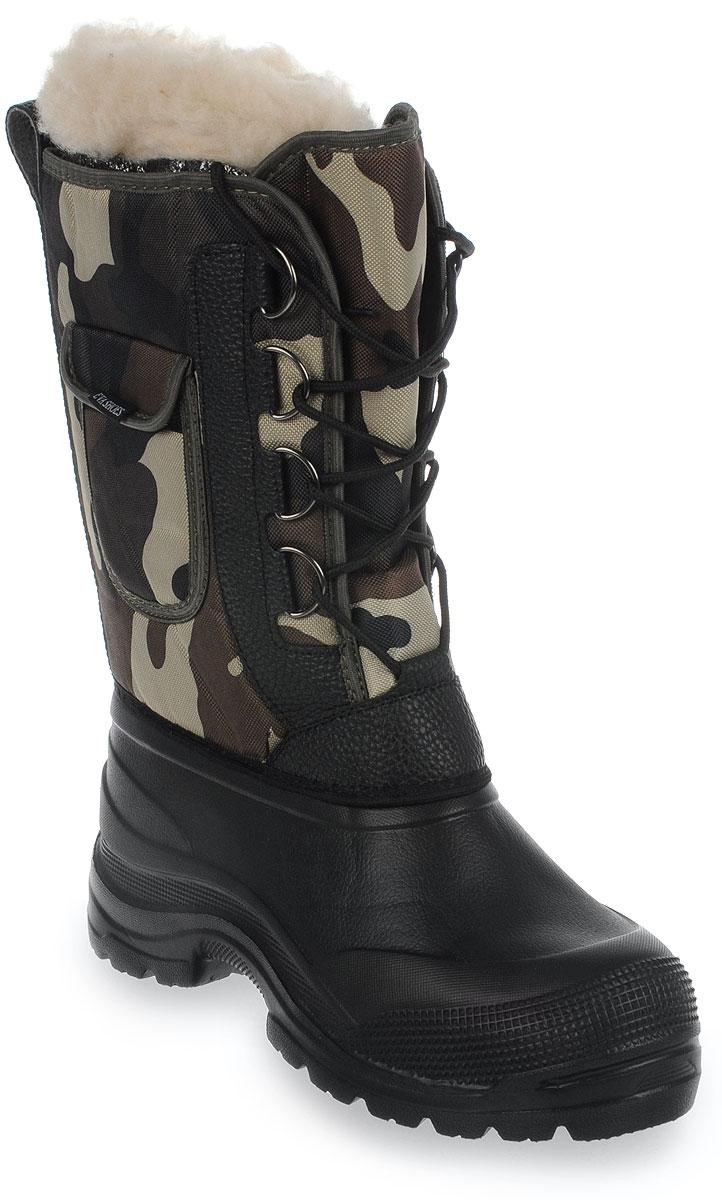 Сапоги зимние EVA Shoes Аляска (-40), цвет: черный, коричневый камуфляж. Размер 4259114Зимние сапоги EVA Shoes Аляска (-40) - это легкая, теплая и удобная обувь для зимней рыбалки и охоты. Галоша выполнена из ЭВА. Голенище изготовлено из прочного оксфорда. Внутри расположен съемный чулок из натурального меха с фольгой и спанбондом. На каждом из сапогов расположен небольшой кармашек на липучке. Шнурки помогают плотно прижимать сапог к ноге.