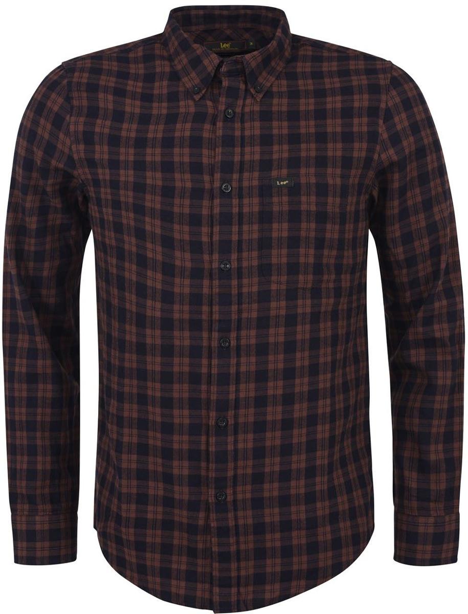 Рубашка мужская Lee, цвет: коричневый. L880CYDL. Размер M (48)L880CYDL