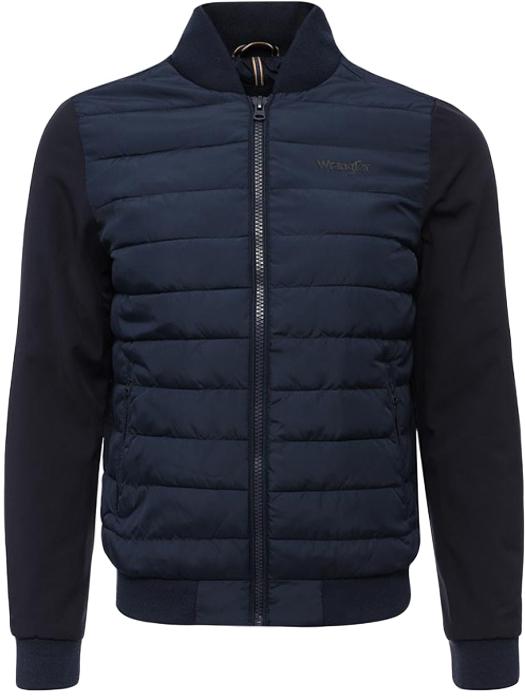 Куртка мужская Wrangler, цвет: синий. W4675X335. Размер S (46)W4675X335Стильная мужская куртка Wrangler изготовлена из высококачественного полиамида. В качестве утеплителя используется полиэстер. Стеганая модель с воротником-стойкой застегивается на застежку-молнию. Спереди расположены два втачных кармана на застежках-молниях. Манжеты рукавов дополнены трикотажными напульсниками. По низу куртка также дополнена трикотажной резинкой.