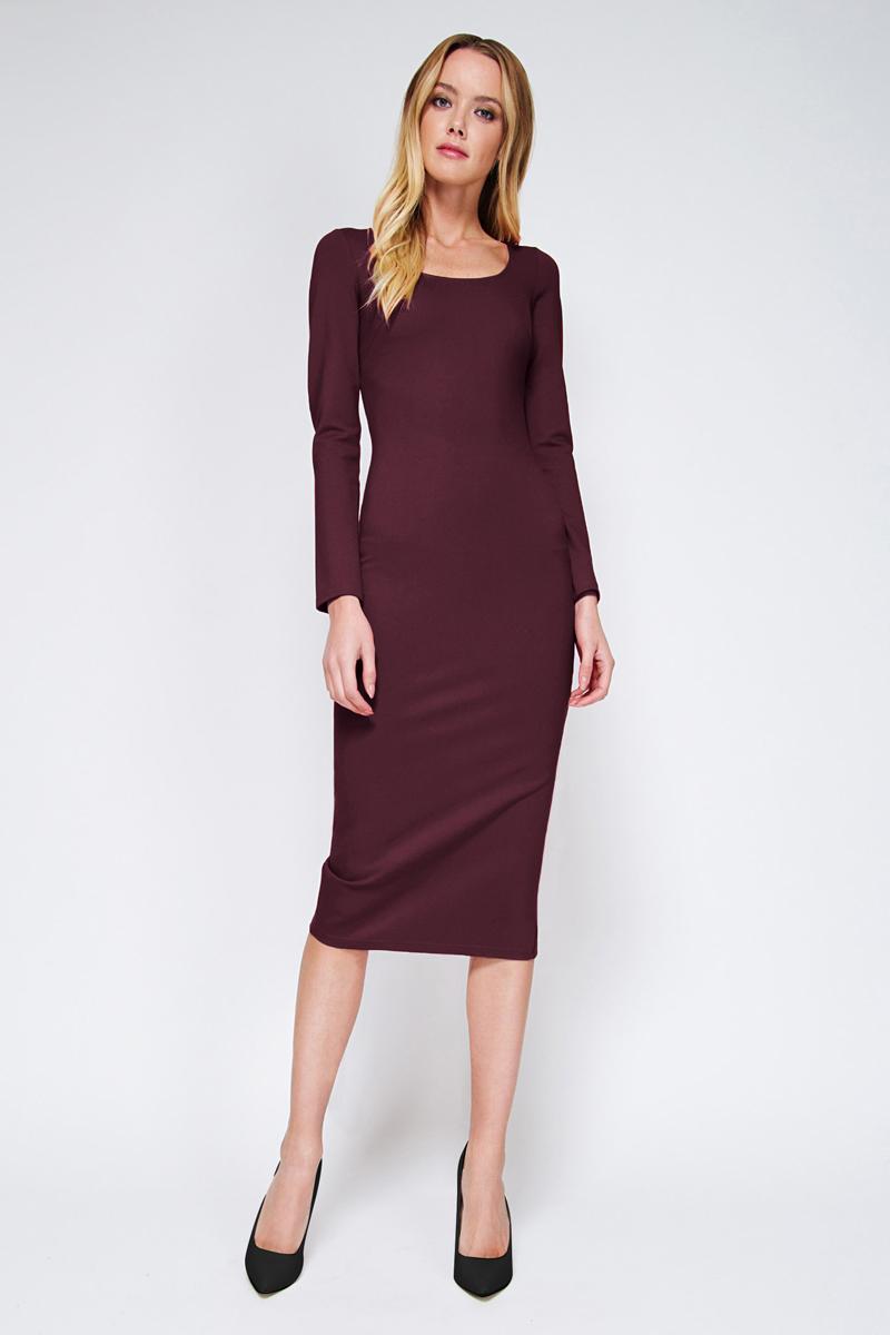 Платье Tom Farr, цвет: фиолетовый. TW4515.62808-1-coll. Размер S (44)TW4515.62808-1-collПлатье от Tom Farr выполнено из высококачественного материала. Модель облегающего кроя с круглым вырезом горловины и длинными рукавами.