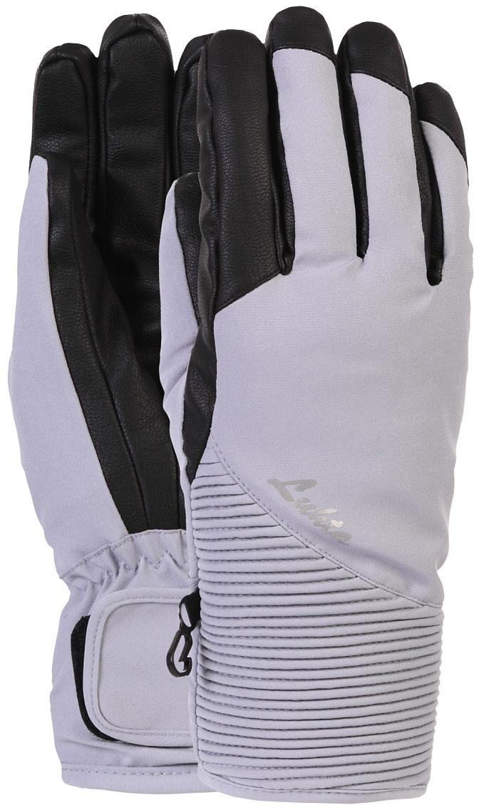 Перчатки женские Luhta, цвет: светло-серый, черный. 838615839LV-220. Размер L (8/8,5)838615839LV-220Женские перчатки выполнены из полиэстера. На запястьях изделия дополнены эластичными резинками. Подкладка выполнена из мягкого полиэстера. Для удобного хранения перчатки оснащены пластиковой застежкой, соединяющей их вместе.