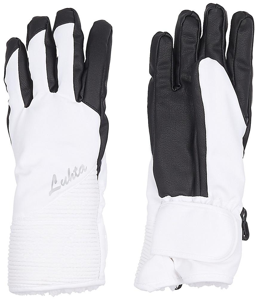 Перчатки женские Luhta, цвет: белый, черный. 838615839LV-980. Размер S (6/6,5)838615839LV-980Женские перчатки выполнены из полиэстера. На запястьях изделия дополнены эластичными резинками. Подкладка выполнена из мягкого полиэстера. Для удобного хранения перчатки оснащены пластиковой застежкой, соединяющей их вместе.