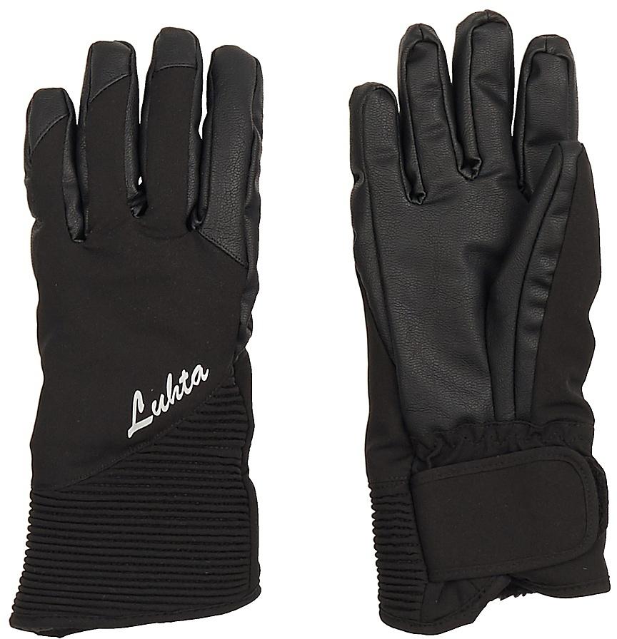 Перчатки женские Luhta, цвет: черный. 838615839LV-990. Размер S (6/6,5)838615839LV-990Женские перчатки выполнены из полиэстера. На запястьях изделия дополнены эластичными резинками. Подкладка выполнена из мягкого полиэстера. Для удобного хранения перчатки оснащены пластиковой застежкой, соединяющей их вместе.
