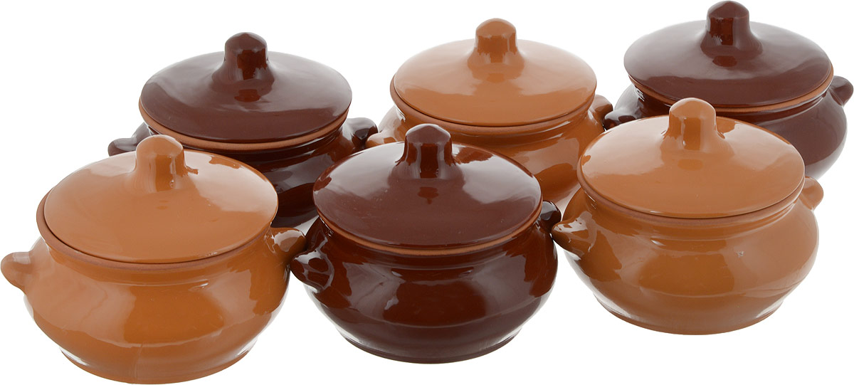 Набор горшочков для запекания Борисовская керамика  Лакомка , цвет: светло-коричневый, темно-коричневый, 500 мл, 6 шт - Посуда для приготовления