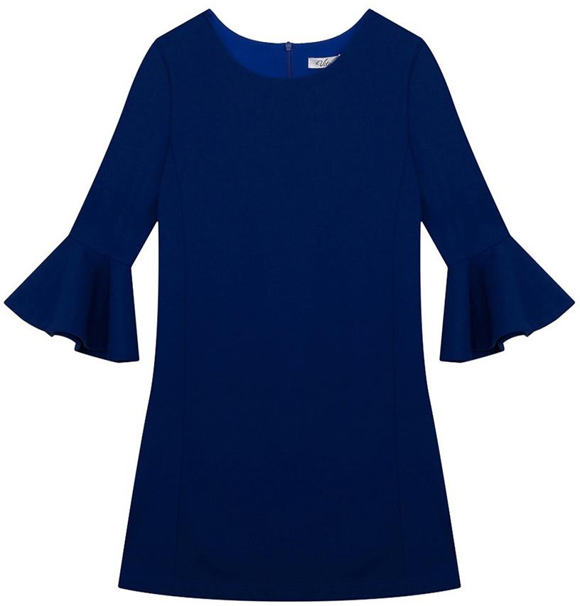 Платье для девочки Vitacci, цвет: синий. 2171111-10. Размер 1342171111-10Стильное платье Vitacci идеально подойдет вашей дочурке. Платье выполнено из полиэстера с добавлением эластана, оно необычайно мягкое и приятное на ощупь, не сковывает движения. Платье-миди с длинными рукавами и круглым вырезом горловины дополнено на рукавах воланами.