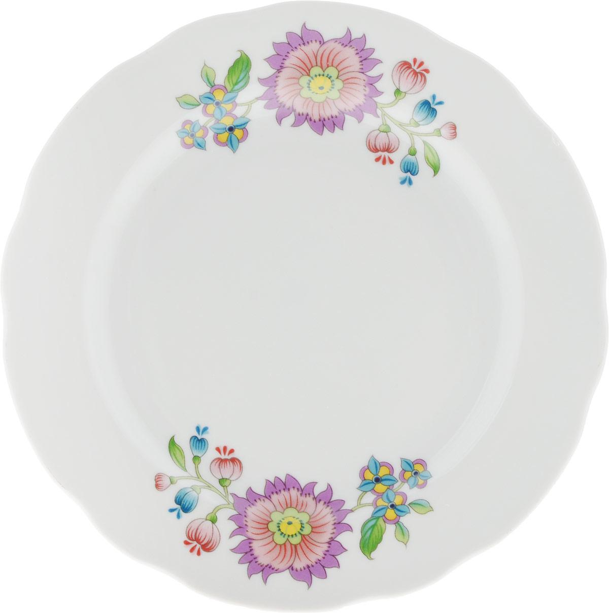 Тарелка мелкая Дулевский Фарфор Луговые цветы, диаметр 17,5 см