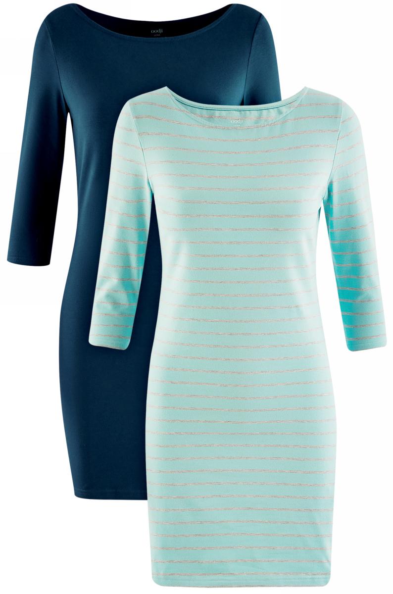 Платье oodji Ultra, цвет: темно-бирюзовый, голубой, 2 шт. 14001071T2/46148/7379N. Размер XXS (40)14001071T2/46148/7379NКомплект из двух мини-платьев oodji Ultra изготовлен из хлопка с добавлением эластана. Обтягивающие платья с круглым вырезом и рукавами 3/4 выполнены в лаконичном дизайне. В комплекте два платья.