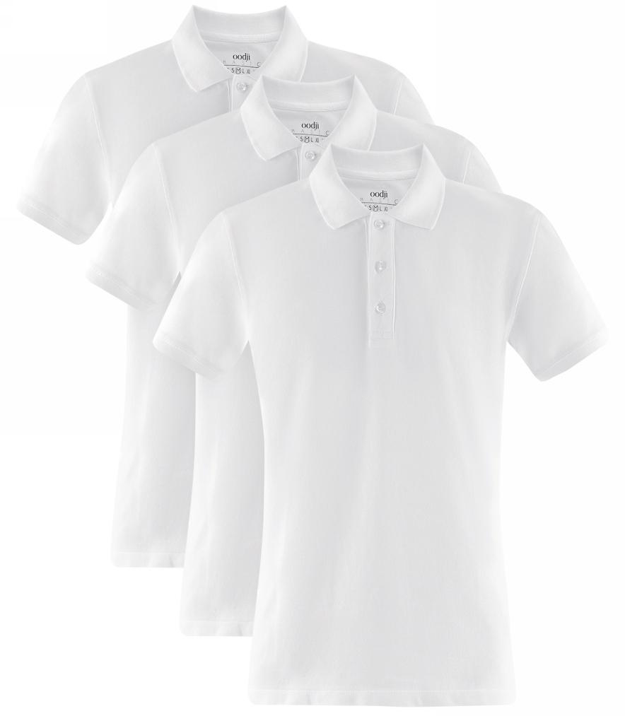 Поло мужское oodji Basic, цвет: белый, 3 шт. 5B422001T3/44032N/1000N. Размер XXL (58/60)5B422001T3/44032N/1000NБазовое поло от oodji выполнено из ткани пике. Комплект из трех одинаковых футболок-поло – это практичное решение для мужского гардероба: не нужно ждать, когда ваша любимая футболка будет постирана и выглажена, ведь у вас есть еще точно такие же. У этой модели классический отложной воротничок и застежка на пуговицы. Поло прямого силуэта, правильной длины до середины бедра. Футболка-поло – это универсальный вариант для повседневной одежды. Она хорошо сочетается с джинсами, шортами и брюками разного фасона и длины. Если на работе действует строгий дресс-код, футболку поло можно надеть вместо рубашки. С ней всегда получится создать элегантный образ на все случаи жизни: на работу, учебу, свидание, прогулку с друзьями или вечеринку в загородном клубе.Выбор обуви зависит от подобранного низа. С джинсами или бриджами хорошо сочетаются кеды и кроссовки, а с брюками – легкие летние туфли.