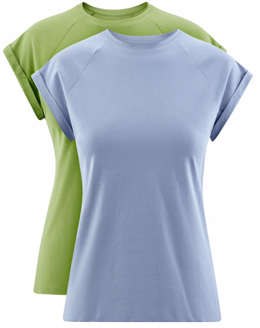 Футболка женская oodji Ultra, цвет: зеленый, голубой, 2 шт. 14707001T2/46154/25. Размер XS (42)14707001T2/46154/25Женская футболка свободного кроя oodji Ultra изготовлена из высококачественного натурального хлопка. Модель с короткими рукавами-реглан и круглым вырезом горловины оформлена декоративными отворотами на рукавах. Низ футболки имеет эффект необработанного края. В комплект входят 2 футболки.