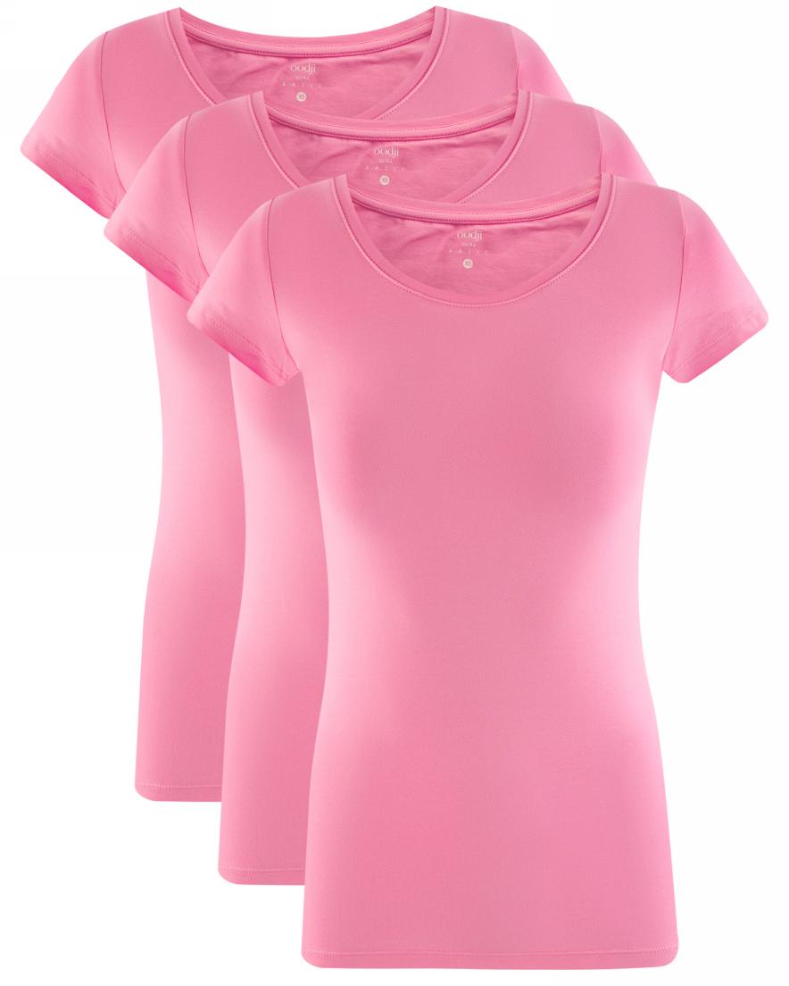 Футболка женская oodji Ultra, цвет: светло-розовый, 3 шт. 14701005T3/46147/4100N. Размер L (48)14701005T3/46147/4100NЖенская футболка oodji Ultra выполнена из эластичного хлопка. Модель с круглым вырезом горловины и короткими рукавами. В комплект входят три футболки.