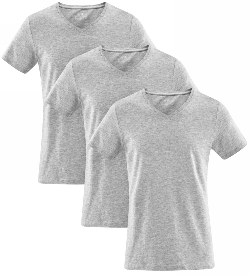 Футболка мужская oodji, цвет: серый меланж, 3 шт. 5B612001T3/44135N/2300M. Размер XS (44)5B612001T3/44135N/2300MКомплект из трех хлопковых футболок от oodji прямого силуэта. Футболки с V-образным вырезом и короткими рукавами, без какого-либо декора смотрятся стильно и сдержанно. Трикотаж из хлопка приятен для тела, хорошо тянется и практичен в ношении: дышит, сохраняет форму после стирок, не вызывает раздражений. В таких футболках приятно ходить в жаркую погоду. Модель прямого силуэта прекрасно сидит на любой фигуре.Базовый комплект из трех одинаковых футболок – отличное решение для практичных натур. С таким набором вы всегда будете уверены, что в запасе есть хотя бы одна свежая футболка. Это удобно и позволяет реже стирать вещи. Универсальные футболки будут уместны в любых неформальных ситуациях. В них можно пойти на учебу, прогулку, тренировку или по делам. Хлопковую футболку можно носить как удобную домашнюю одежду. Базовые футболки прекрасно сочетаются с джинсами, спортивными трикотажными брюками и шортами. В таком наряде вам будет комфортно и легко!