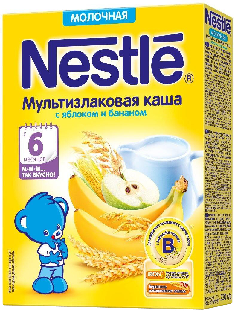 Nestle мультизлаковая яблоко банан каша молочная, 220 г каша молочная nestle мультизлаковая с яблоком черникой и малиной с 6 мес 250 г