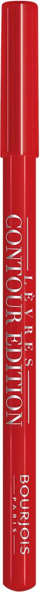 Bourjois Карандаш Контурный Для Губ Levres Contour Edition Тон 06 tout rouge 1 мл29101284006Контурный карандаш для ryб Levres Contour от Bourjois, отвечает всем требованиям современной женщины. Благодаря своей мягкой и тающей кремообразной текстуре карандаш легко наносится и придает губам ровный и четкий контур. Позволяет помаде лучше держаться на губах. Чрезвычайно мягкая, тающая текстура скользит и рисует на губах безупречную линию. Оттенки карандаша идеально соответствуют любому типу помады и блесков Bourjois