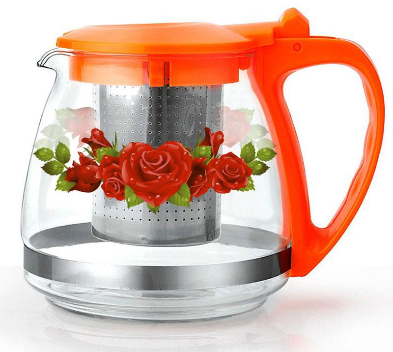 Чайник заварочный Bekker, цвет: коралловый, 1 лBK-7624Ручка и крышка пластиковая цветная. Ситечко из нержавеющей стали. Автоматическое открывание крышки. Подходит для чистки в посудомоечной машине. Состав: жаропрочное стекло. Объем: 1 л.