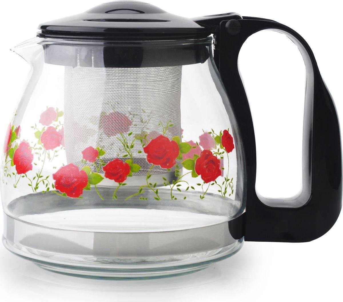 Чайник заварочный Bekker, цвет: черный, 700 млBK-7625Ручка и крышка пластиковая цветная. Ситечко из нержавеющей стали. Автоматическое открывание крышки. Подходит для чистки в посудомоечной машине. Состав: жаропрочное стекло. Объем: 0,7 л.