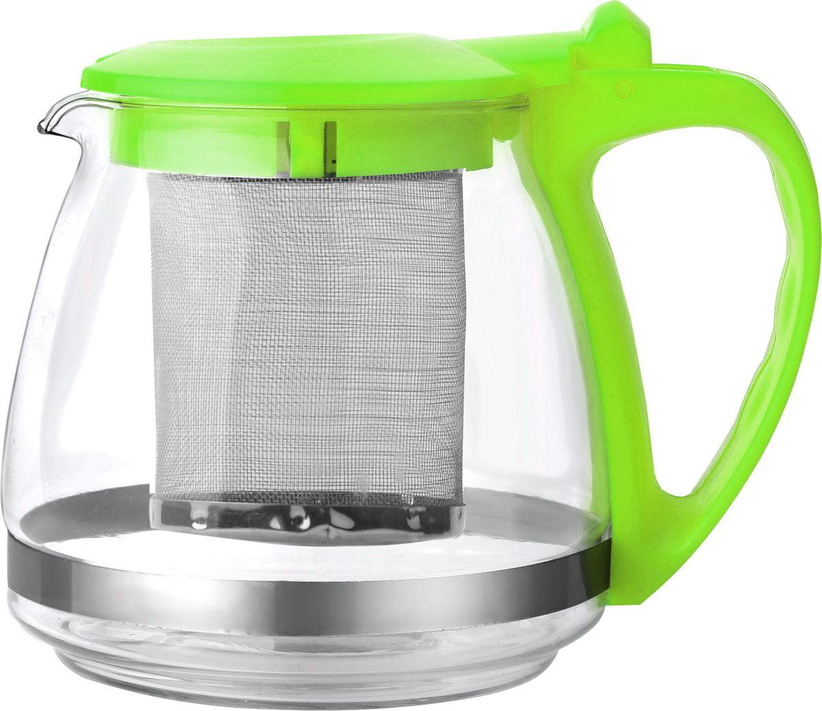 Ручка и крышка пластиковая цветная. Ситечко из нержавеющей стали. Автоматическое открывание крышки. Подходит для чистки в посудомоечной машине. Состав: жаропрочное стекло. Объем: 0,7 л.