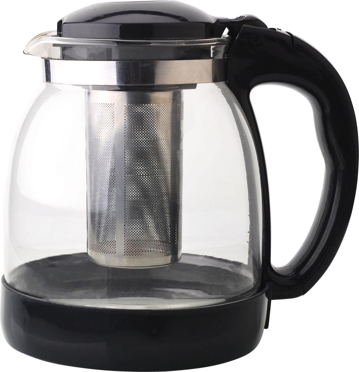 Чайник заварочный Bekker, цвет: черный, 1,8 лBK-7630Ручка и крышка пластиковая цветная. Ситечко из нержавеющей стали. Автоматическое открывание крышки. Подходит для чистки в посудомоечной машине. Состав: жаропрочное стекло. Объем: 1,8 л.