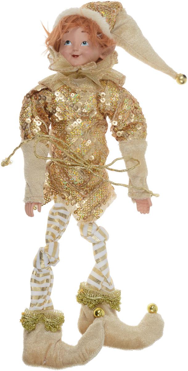Кукла декоративная Эльф, цвет: золотистый, высота 33 см. 75062