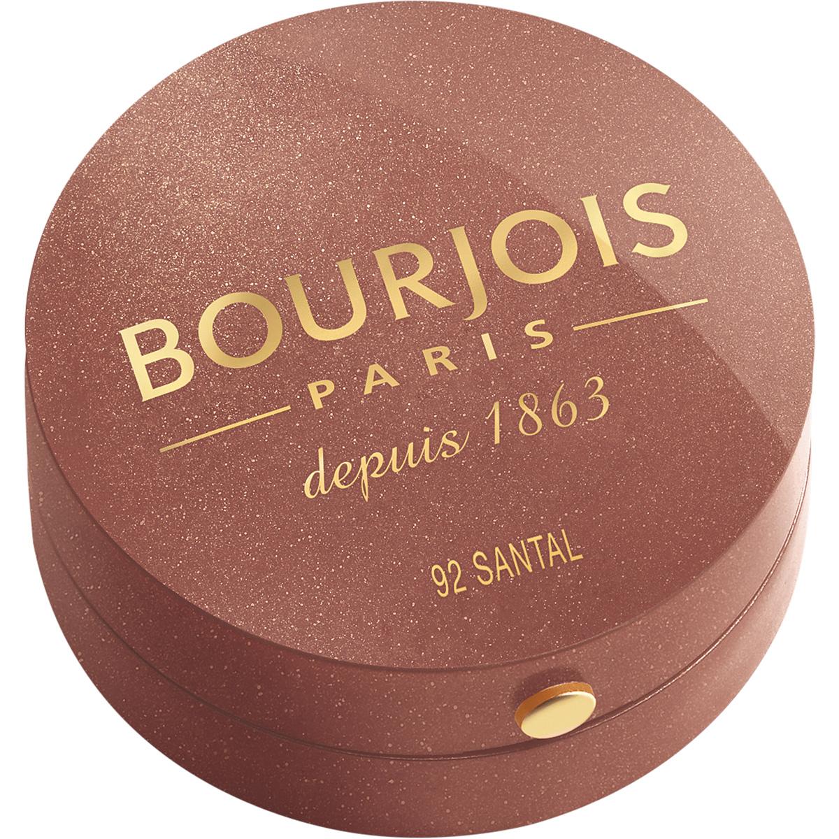 Bourjois Румяна blush 92 тон 2 мл29101562092Шелковая текстура румян при соприкосновении с кожей превращается в легкую, бархатистую пудру. Румяна невероятно легко наносятся и идеально ложатся. Твоя кожа выглядит потрясающе! Нежнейшая кисточка из натурального колонка творит чудеса! Потрясающая отдушка с ароматом розы, характерная для румян Bourjos, создает настроение легкости, а встроенное зеркальце облегчает нанесение. Cтолько соблазна в одной маленькой круглой баночке!