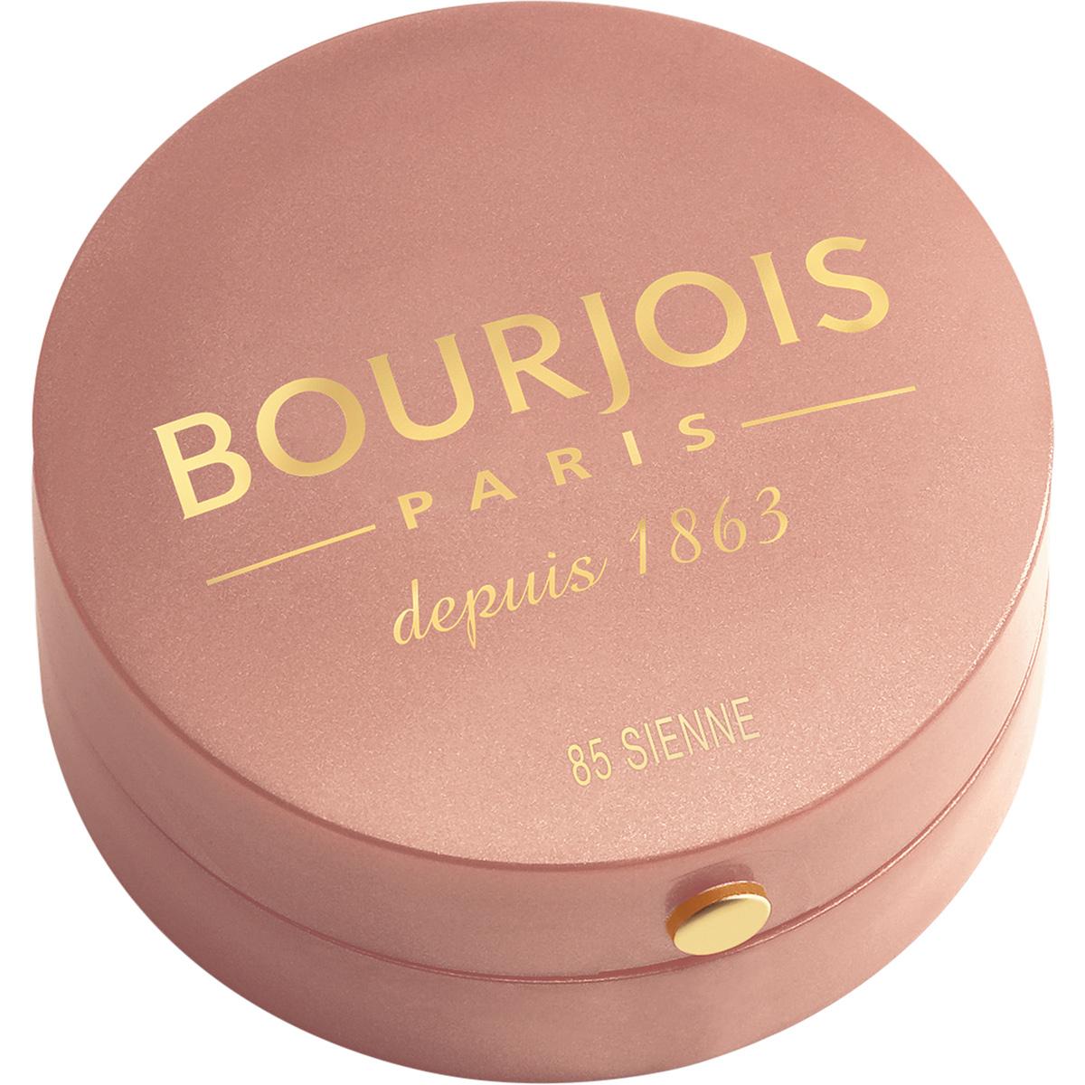Bourjois Румяна blush 85 тон 2 мл29101562085Продукт - символ марки Bourjois, выпускаемый с 1863 года.Шелковая текстура румян при соприкосновении с кожей превращается в легкую, бархатистую пудру. Румяна невероятно легко наносятся и идеально ложатся. Твоя кожа выглядит потрясающе! Нежнейшая кисточка из натурального колонка творит чудеса! Потрясающая отдушка с ароматом розы, характерная для румян Bourjos, создает настроение легкости, а встроенное зеркальце облегчает нанесение.Cтолько соблазна в одной маленькой круглой баночке!
