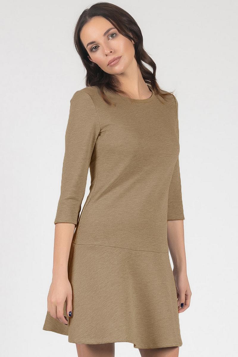 Платье Tom Farr, цвет: бежевый. TW8672.95701-2-coll. Размер M (46)TW8672.95701-2-collПлатье от Tom Farrвыполнено из футера с люрексом. Полуприлегающий силуэт, рукав 3/4, длина выше колена.