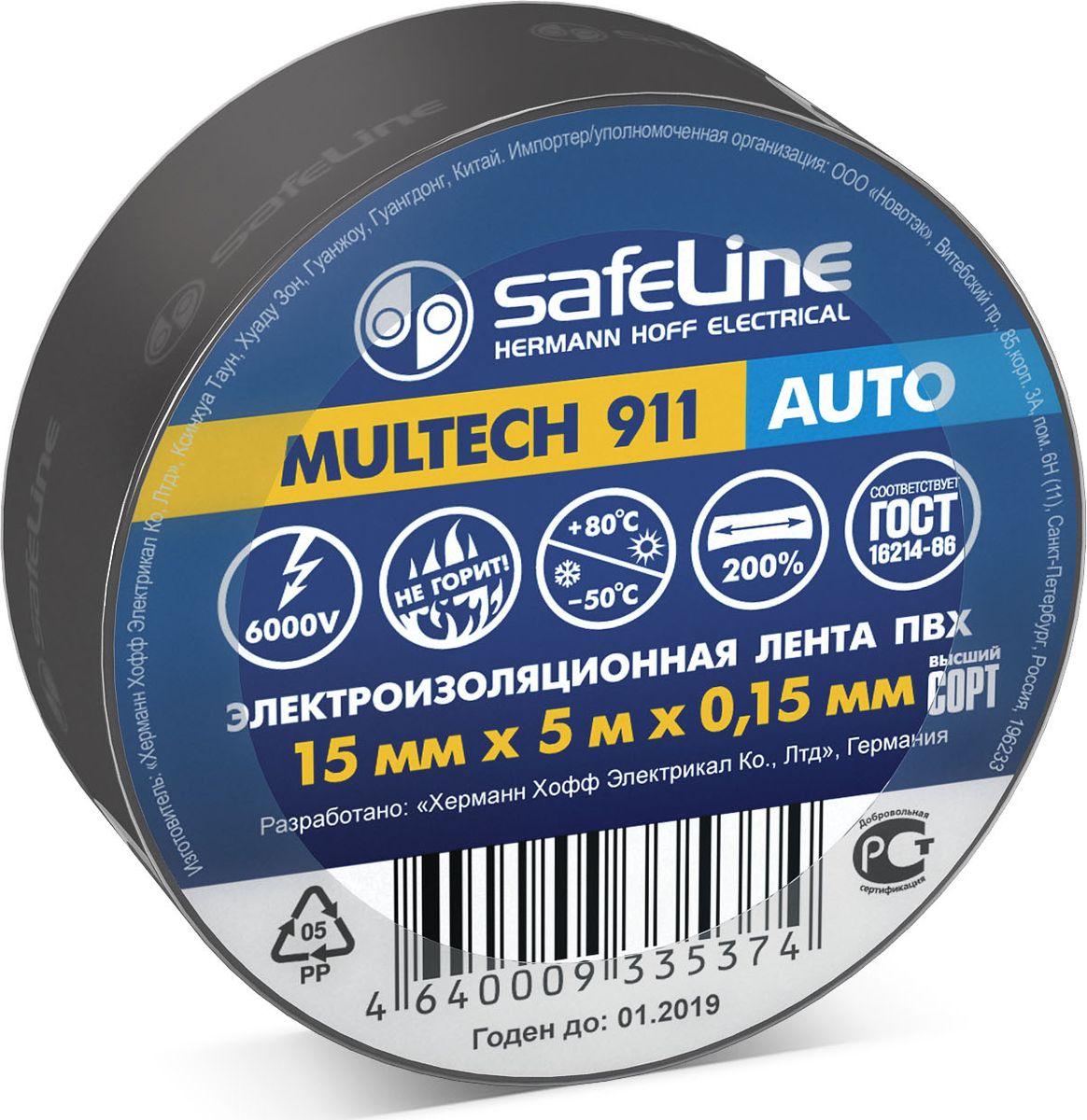 Лента изоляционная SafeLine, цвет: черный, ширина 1,5 см, длина 5 м22898Изоляционная лента Safelin Auto выполнена из поливинилхлорида - материала, известного своей эластичностью и прочностью. Изолента применяется для изоляции проводов и проведения электромонтажных работ, отлично подходит для маркировки проводов и служит средством для починки бытовыхэлектроприборов. Safelin Auto обладает рядом преимуществ: - напряжение пробоя 6000V, - не горит, - выдерживает температуру от -50°С до +80°С.
