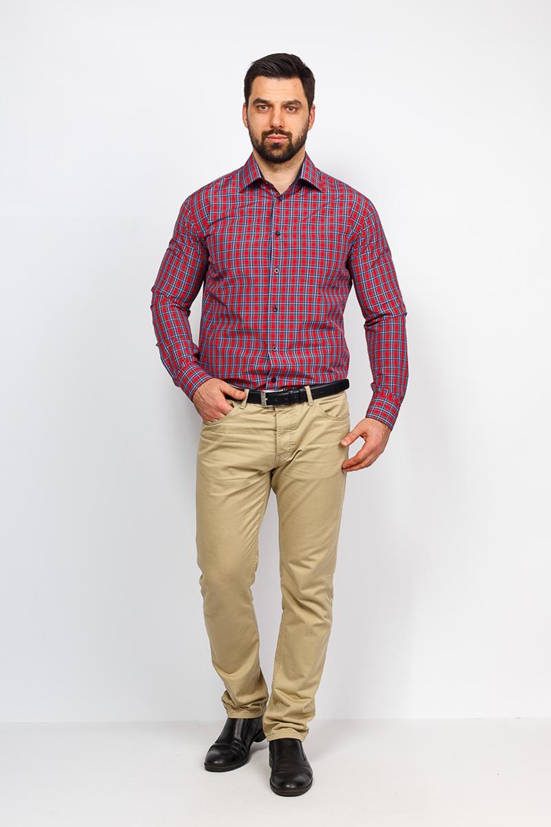 Рубашка мужская Casino, цвет: красный. c625/1/1491/Z/1. Размер 44 (56-174/184) shirt men s short sleeve casino c335 0 7461 z gray