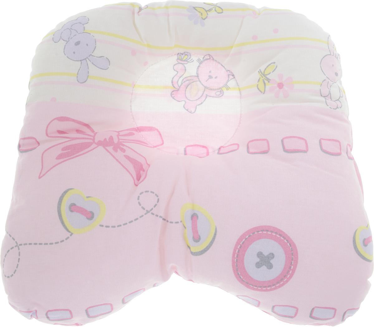 Сонный гномик Подушка анатомическая для младенцев Заяц и кот цвет розовый 27 х 27 см