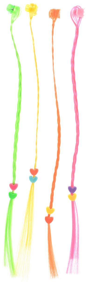 Partymania Цветные декоративные пряди для волос цвет салатовый розовый желтый 4 шт partymania украшения для бокалов 12 шт