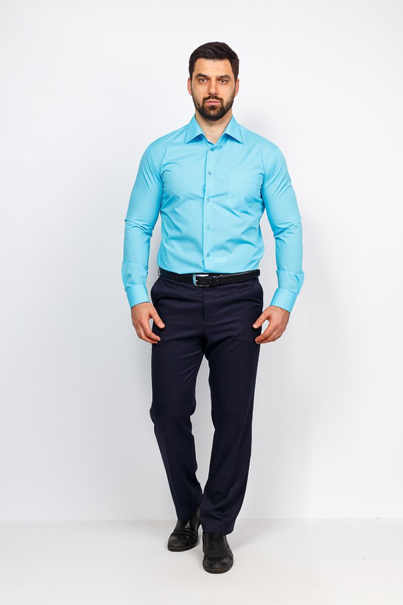 Рубашка мужская Casino, цвет: бирюзовый. c220/1/sea/Z. Размер 44 (56-174/184) рубашка мужская casino цвет синий c230 1 010 z размер 44 56 174 184