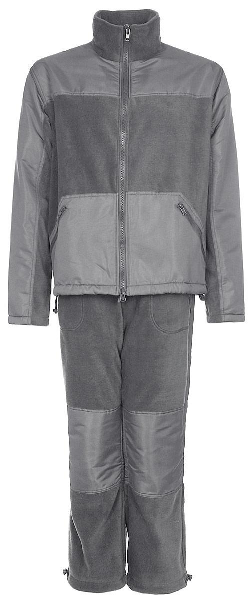 Костюм рыболовный мужской HUNTSMAN Пикник-Люкс: куртка, брюки, цвет: серый. pc_100_lux-974. Размер 48/50, рост 176pc_100_lux-974Мягкий, теплый, флисовый костюм Пикник-Люкс от Huntsman состоит из куртки и брюк. Комплект подойдет для повседневной носки в прохладную погоду. Также его можно поддевать под зимнюю рыболовную одежду. Подходит как для отдыха на природе, так и для домашней носки.Изделия выполнены из флиса со вставками из ткани Taslan. Куртка на молнии c воротником-стойкой и утяжками по нижнему краю дополнена двумя боковыми карманами. Брюки прямого кроя с резинкой и шнуром в поясе также имеют два кармана и утяжки по низу брючин.