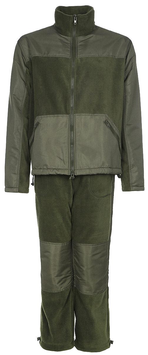 Костюм рыболовный мужской HUNTSMAN Пикник-Люкс: куртка, брюки, цвет: хаки. pc_100_lux-521. Размер 52/54, рост 182pc_100_lux-521Мягкий, теплый, флисовый костюм Пикник-Люкс от Huntsman состоит из куртки и брюк. Комплект подойдет для повседневной носки в прохладную погоду. Также его можно поддевать под зимнюю рыболовную одежду. Подходит как для отдыха на природе, так и для домашней носки.Изделия выполнены из флиса со вставками из ткани Taslan. Куртка на молнии c воротником-стойкой и утяжками по нижнему краю дополнена двумя боковыми карманами. Брюки прямого кроя с резинкой и шнуром в поясе также имеют два кармана и утяжки по низу брючин.
