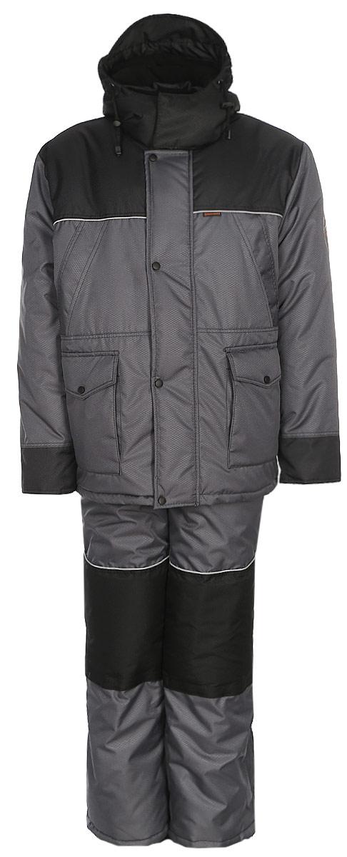 Костюм рыболовный мужской HUNTSMAN Полюс V: куртка, полукомбинезон, цвет: серый, черный. ps_100_v-976. Размер 48/50, рост 176ps_100_v-976Зимний костюм для рыбалки и отдыха Полюс-V от Huntsman состоит из куртки и полукомбинезона. Ткань костюма не продувается ветром, не промокает под сильным дождем. На куртке регулируемый капюшон с козырьком внутри отделан флисом, так же как и воротник-стойка. Надежная двухзамковая молния скрыта под ветрозащитной планкой на кнопках. Куртка имеет два нагрудных кармана на молниях, два накладных кармана: вход сверху под клапаном, застегивается на кнопки; вход сбоку на молнии. Внутренний карман - на липучке. Внутренние трикотажные манжеты регулируются с поиощью липучек. Предусмотрена внутренняя кулиска по талии. Утеплитель - 450гр/кв.м. Полукомбинезон на регулируемых лямках спереди оснащен застежкой на двухзамковую молнию. Спинка утеплена флисом, боковые эластичные вставки регулируются молнией. Два боковых кармана расположены на брючинах. Два кармана на молнии - на талии. На брюках предусмотрен карман под наколенник с застежкой, чтобы удобно было ползать на коленях, например по льду на рыбалке. Регулировка ширины низа брюк. Утеплитель - 300гр/кв.м.