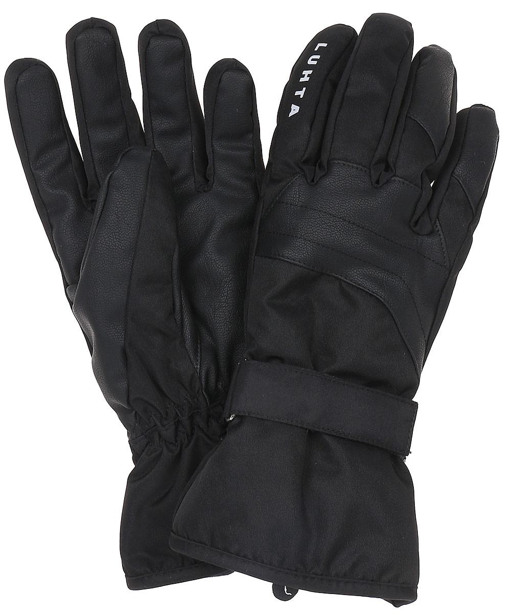 Перчатки мужские Luhta, цвет: черный. 838657659LV-990. Размер L (8/8,5)838657659LV-990Женские перчатки выполнены из полиамида. На запястьях изделия дополнены хлястиками с липучками. Подкладка выполнена из мягкого полиэстера.