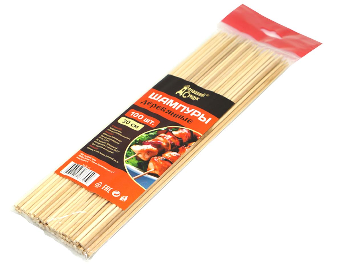"""Шампуры """"Домашний Сундук"""", изготовленные бамбука, предназначены для приготовления миниатюрных шашлыков из мяса, рыбы, птицы, овощей. Шампур представляет собой деревянную шпажку с заостренным концом с одной стороны и имеет круглое сечение. Шампуры выполнены из 100% экологически чистого материала и вы можете не беспокоиться за качество приготовленных блюд.  Длина: 300 мм. В упаковке 100 шт."""