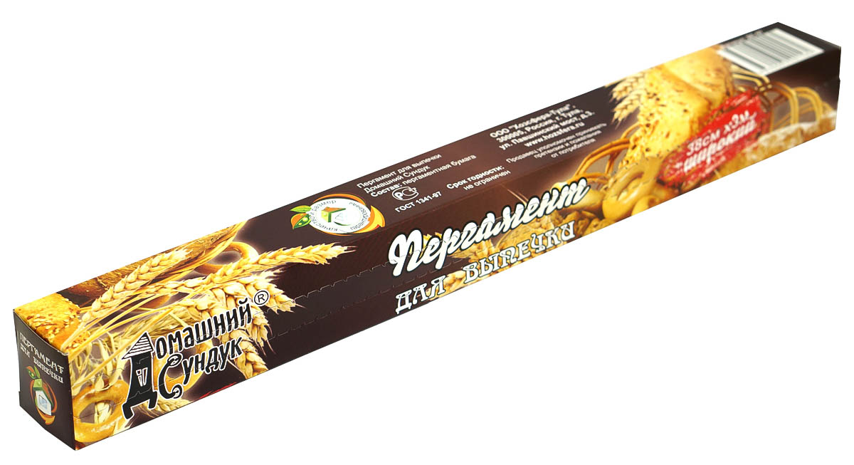 """Пергамент для выпечки """"Домашний Сундук"""" – экологичный, прочный, стойкий к высоким температурам материал. Особенность пергамента – это устойчивость к воздействию жира, поэтому пергамент идеален для выпечки, а также для упаковки пищевых продуктов: масло, творог, сыр, фарш.Длина пергамента: 3 м. Ширина пергамента: 38 см."""