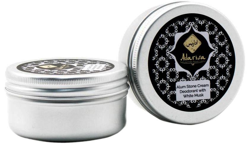 Adarisa Алунитовый крем-дезодорант с белым мускусом, 50 грADAR0139Натуральный крем-дезодорант с белым мускусом обеспечит самую деликатную защиту от пота и неприятного запаха. Это уникальное средство на основе алунита оценят по достоинству все представительницы прекрасного пола – его легким цветочным, изысканным и утонченным ароматом, в котором присутствуют упоительные нотки белого мускуса, хочется наслаждаться каждый день!Кристалл алунит - название цельного натурального минерала горно-вулканического происхождения, богатого алюмокалиевыми квасцами. Его превосходные дезодорирующие, освежающие и бактерицидные свойства позволяют справляться с повышенным потоотделением и характерным запахом без какого-либо вреда для нежной кожи подмышечных впадин. Можно сказать, что этот дезодорант создан самой Природой. В нем не содержится спирта, талька и синтетических отдушек, благодаря чему он не засоряет пор, не пересушивает кожу и не оказывает негативного влияния на работу потовых желез. При этом натуральный дезодорант не просто маскирует запах пота и устраняет избыточную влажность на коже подмышек, но и препятствует развитию комфортной для вредоносных бактерий среды.Мягкий крем-дезодорант легко наносится, не пачкает одежду и оставляет после себя ощущение чистоты и комфорта, а его волшебный аромат сопровождает Вас в течение всего дня.