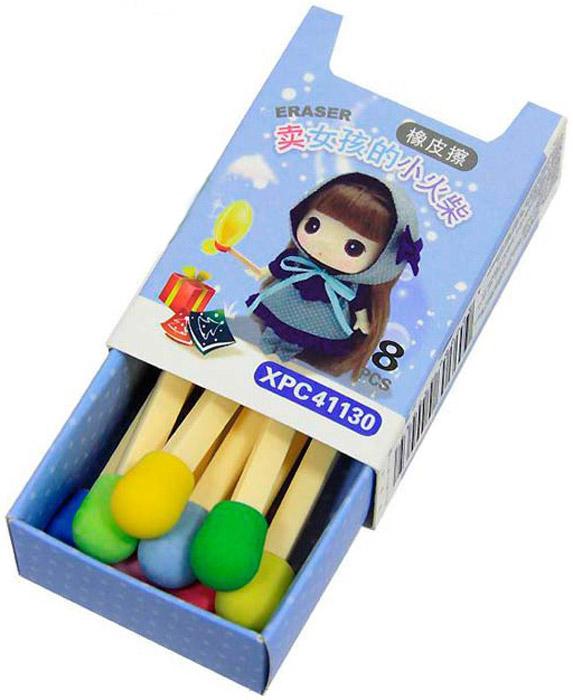 Ezh-Style Набор ластиков Спички цвет голубой 8 шт factis набор мягких ластиков цвет белый 2 шт