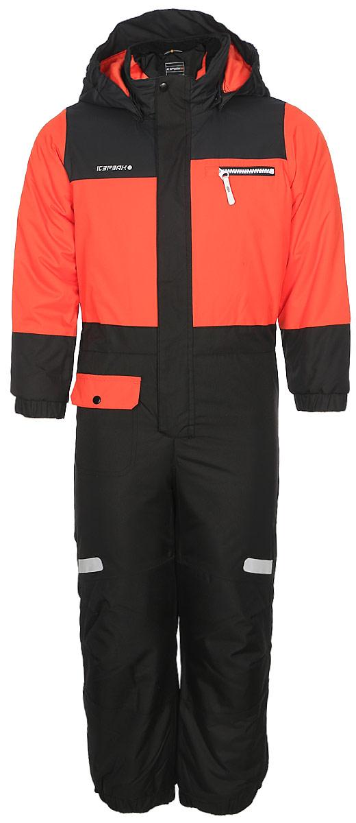 Комбинезон для мальчика Icepeak, цвет: оранжевый, серый. 852153517IV_490. Размер 122852153517IV_490Комбинезон для мальчика Icepeak выполнен из 100% полиэстера. Все швы куртки и брюк проклеены, для обеспечения дополнительной защиты от непогоды. В качестве подкладки также используется полиэстер. Утеплителем служит материал FinnWad, который обладает высокими теплоизоляционными свойствами. Модель с воротником-стойкой и съемным капюшоном застегивается на застежку-молнию с защитой для подбородка и имеет ветрозащитную планку на липучках и кнопках. Капюшон пристегивается к изделию за счет кнопок. Низ брючин оснащен внутренними манжетами на резинке. Спереди расположены один накладной кармашек с клапаном на кнопке, и один нагрудный карман на застежке-молнии. Комбинезон оснащен светоотражающими элементами.