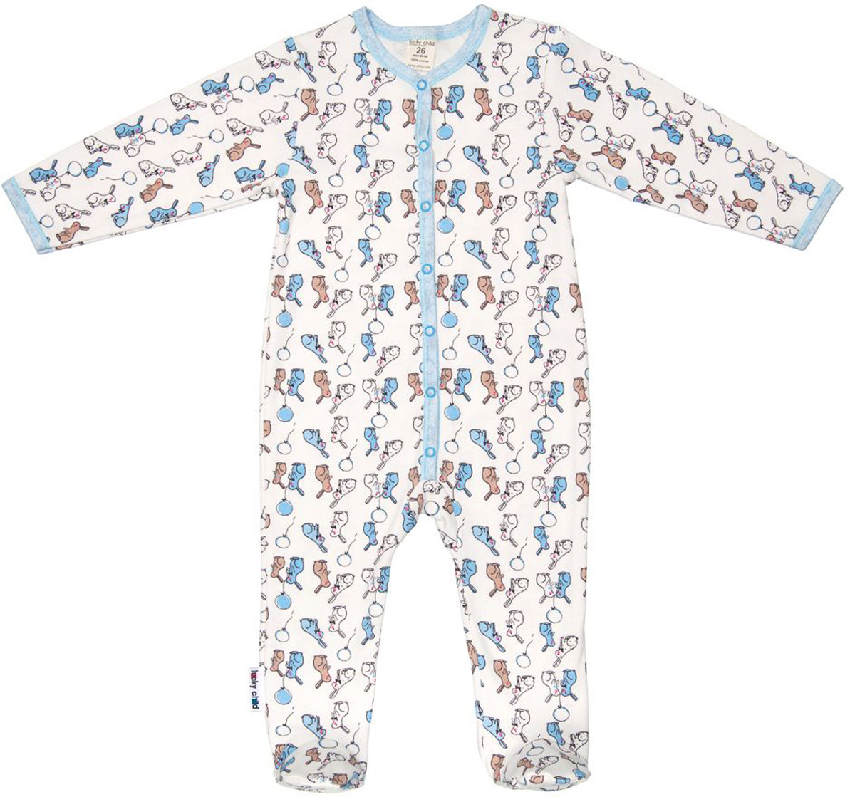Комбинезон домашний детский Luky Child, цвет: молочный, голубой. А1-103/цв. Размер 56/62А1-103/цвДетский комбинезон Lucky Child - очень удобный и практичный вид одежды для малышей. Комбинезон выполнен из натурального хлопка, благодаря чему он необычайно мягкий и приятный на ощупь, не раздражают нежную кожу ребенка и хорошо вентилируются, а эластичные швы приятны телу малыша и не препятствуют его движениям. Комбинезон с длинными рукавами и закрытыми ножками имеет застежки-кнопки от горловины до щиколоток, которые помогают легко переодеть младенца или сменить подгузник. С детским комбинезоном Lucky Child спинка и ножки вашего малыша всегда будут в тепле, он идеален для использования днем и незаменим ночью. Комбинезон полностью соответствует особенностям жизни младенца в ранний период, не стесняя и не ограничивая его в движениях!